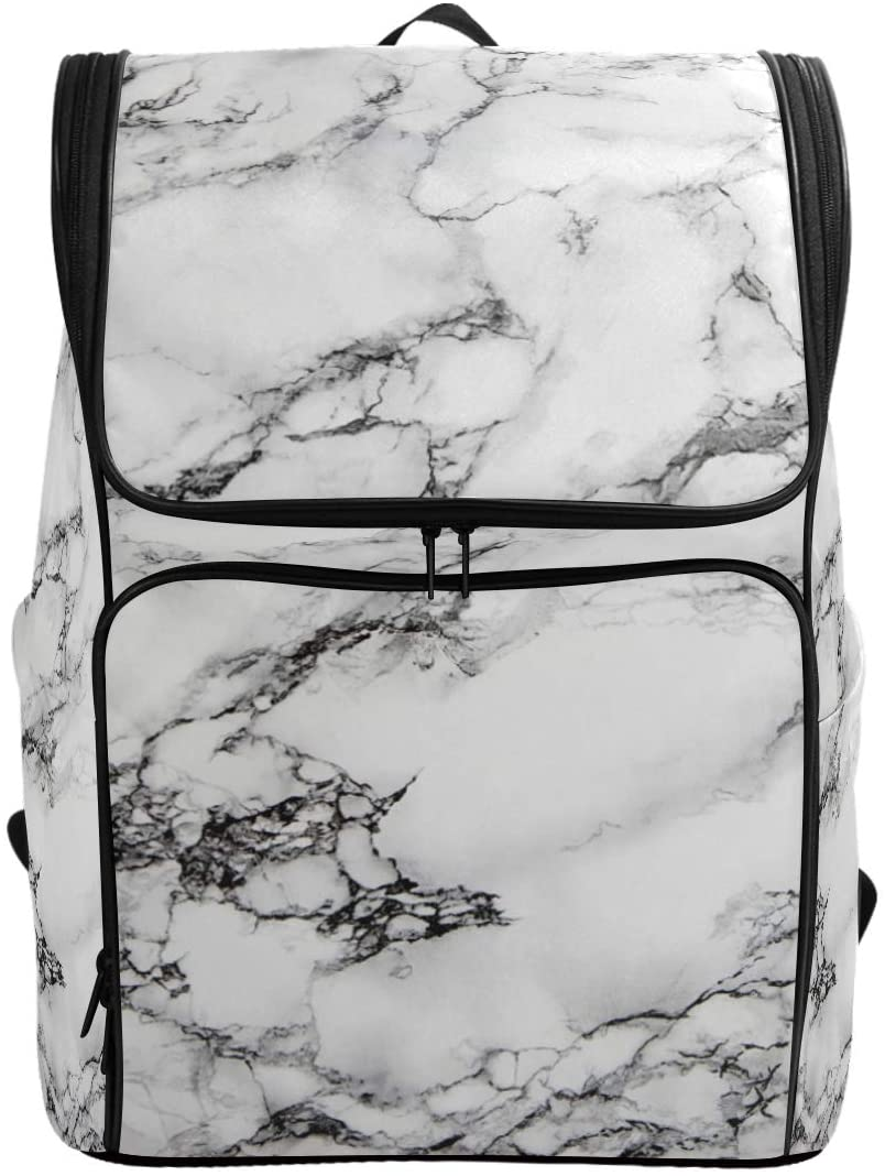 Abstract Marble Stone Backpack Waterproof Polyester Campus Backpack Lightweight Travel Daypack Large Capacity