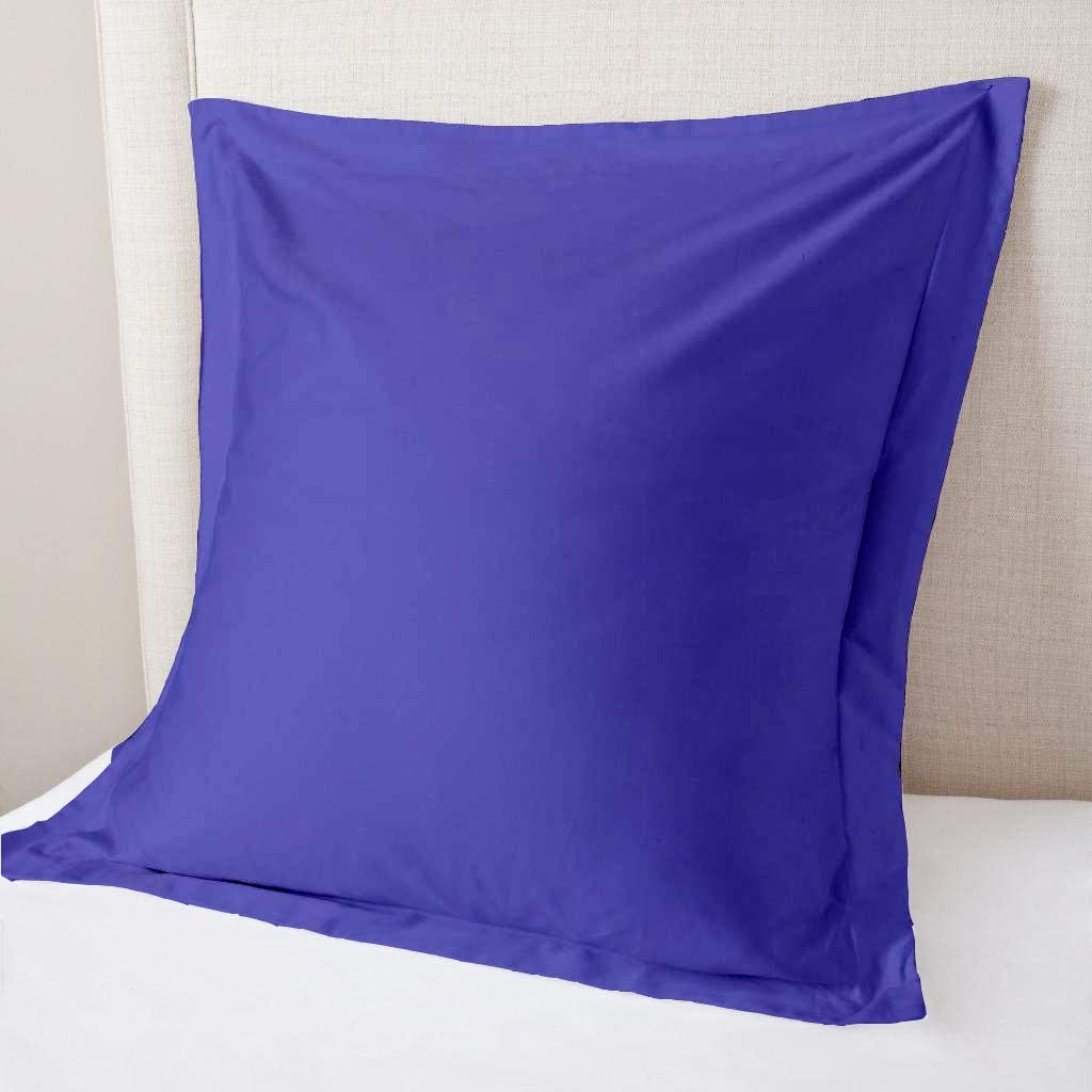 800 Thread Count Set of 2 Pillow Shams Cushion Cover Egyptian Blue Solid, 100% Organic Cotton, Throw Sized 20