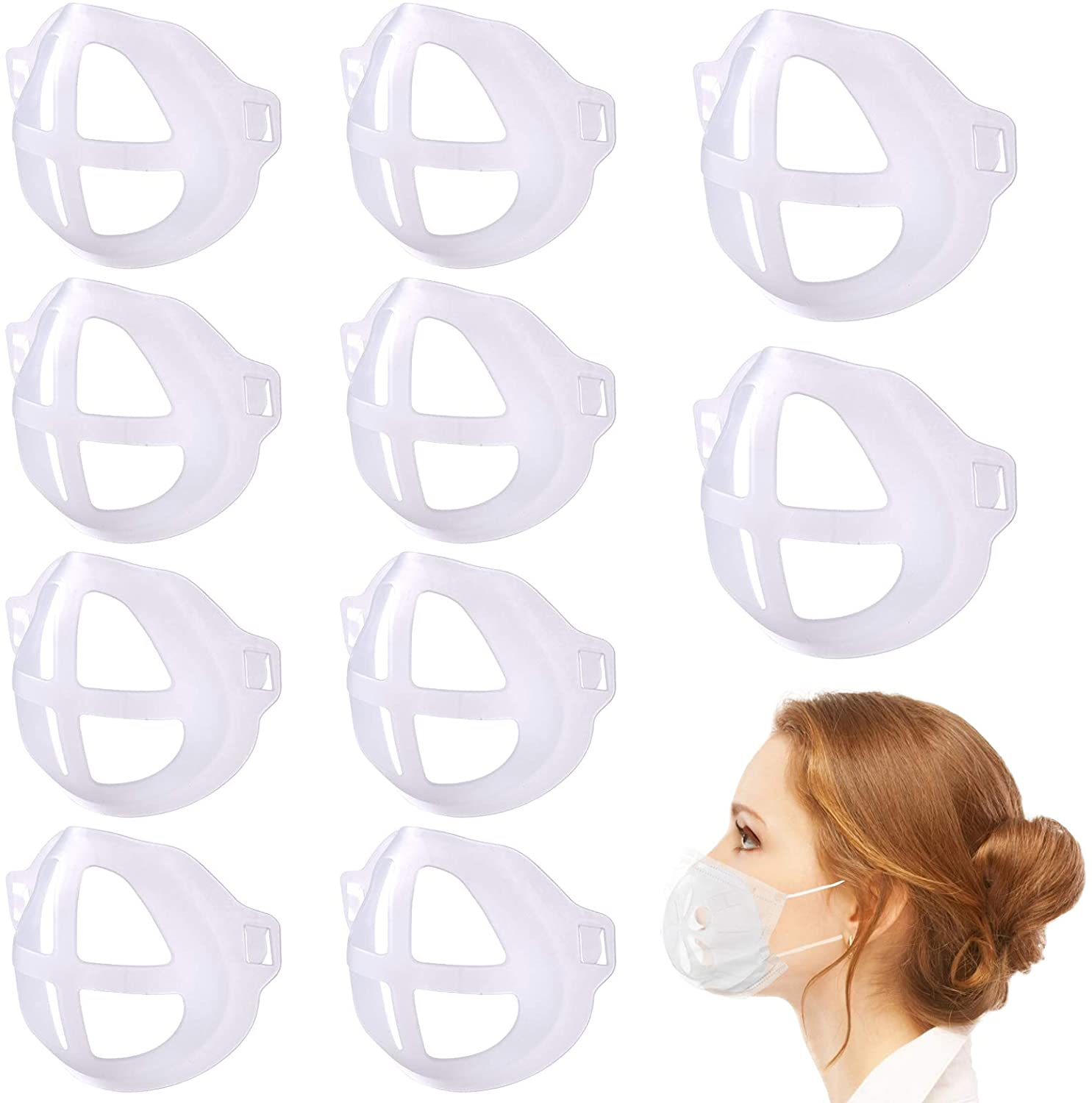 Jamal 3D Face Bracket, 3D Bracket for Support Holder Frame Nose Breathing Smoothly and Creates More Space for Breathing Ideal Makeup(10Pcs)