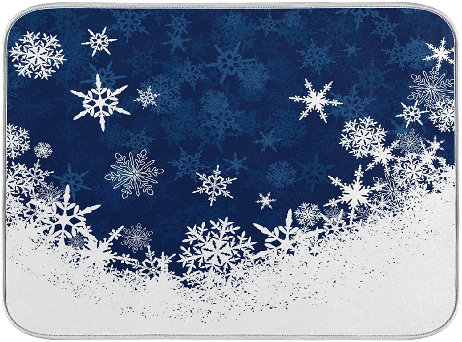 Oarenol Snowflake Dish Drying Mat Christmas Winter Snowy Blue Large 18 x 24 Inch Reversible Drying Mat for Kitchen Counter