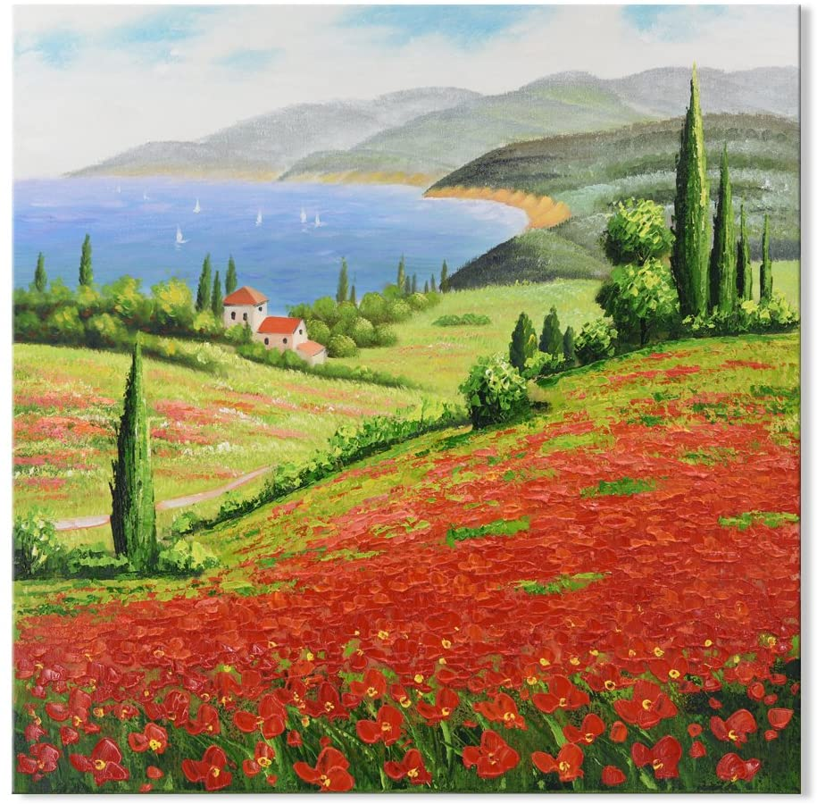 SEVEN WALL ARTS - Red Poppies Flower Field Painting 100% Hand Paitned Modern Knife Texture Landscape Italy Tuscan Decorative Artwork with Stretched Frame for Home Decor 32 x 32 Inch