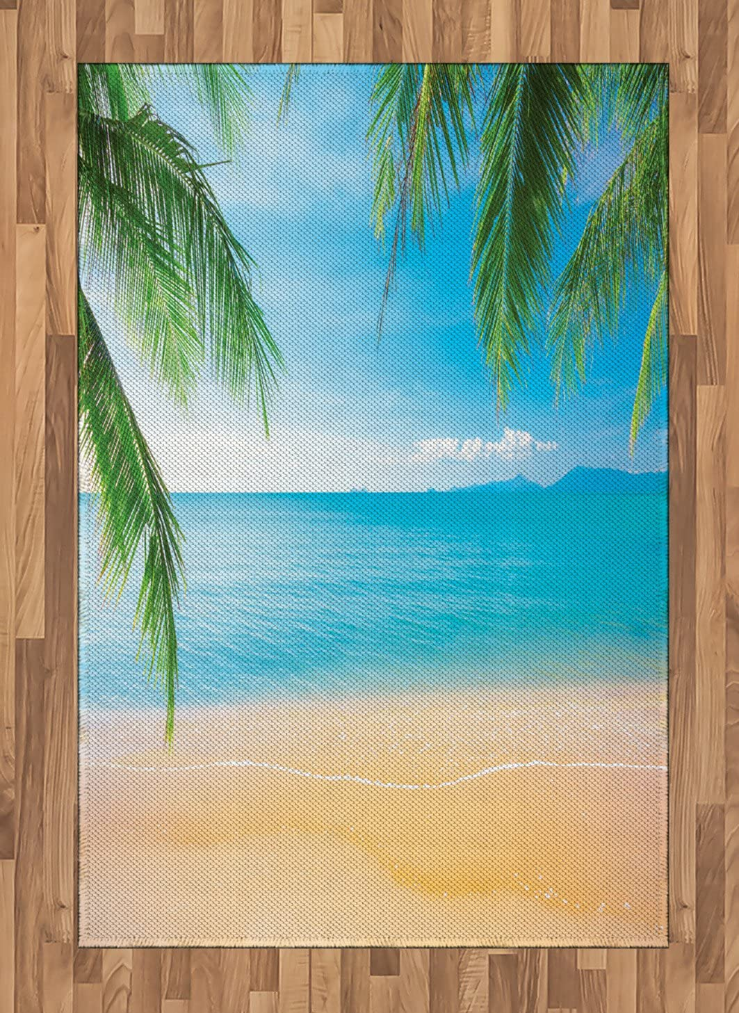Ambesonne Beach Area Rug, Exotic Lagoon Sand Ocean Paradise Picture Thailand Nature Picture, Flat Woven Accent Rug for Living Room Bedroom Dining Room, 4' X 5.7', Sky Blue Green Sand Brown