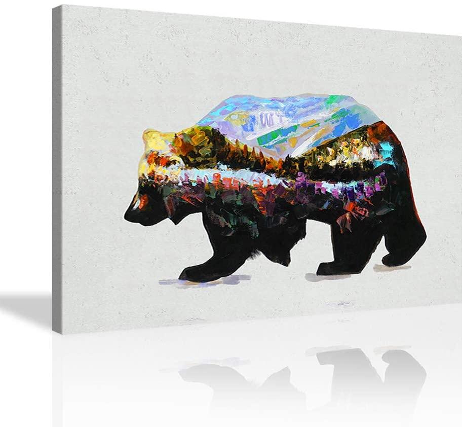 Bear Wall Art Oil Painting Bear Wall Decor Landscape and Bear Canvas Artwork Bear Art Poster Home Decor for Living Room Bedroom Framed Ready to Hang