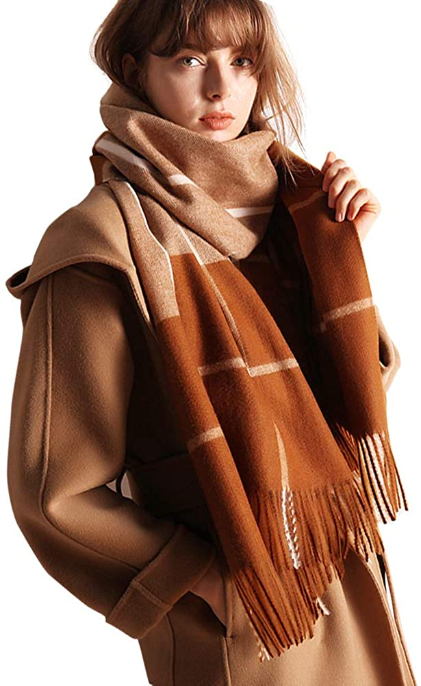 Womens Soft Plaid Scarf Blanket Large Pashmina Cashmere Shawls Wrap Stole with Tassel