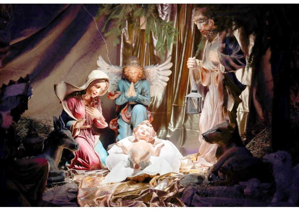 OERJU 9x6ft Nativity Story Photography Backdrop Virgin Mary Christ Child Sheeps Sheepherder Angel Religious Holy Faith Birth of Jesus Background for Christmas Newborn Kids Phootbooth Xmas Banner