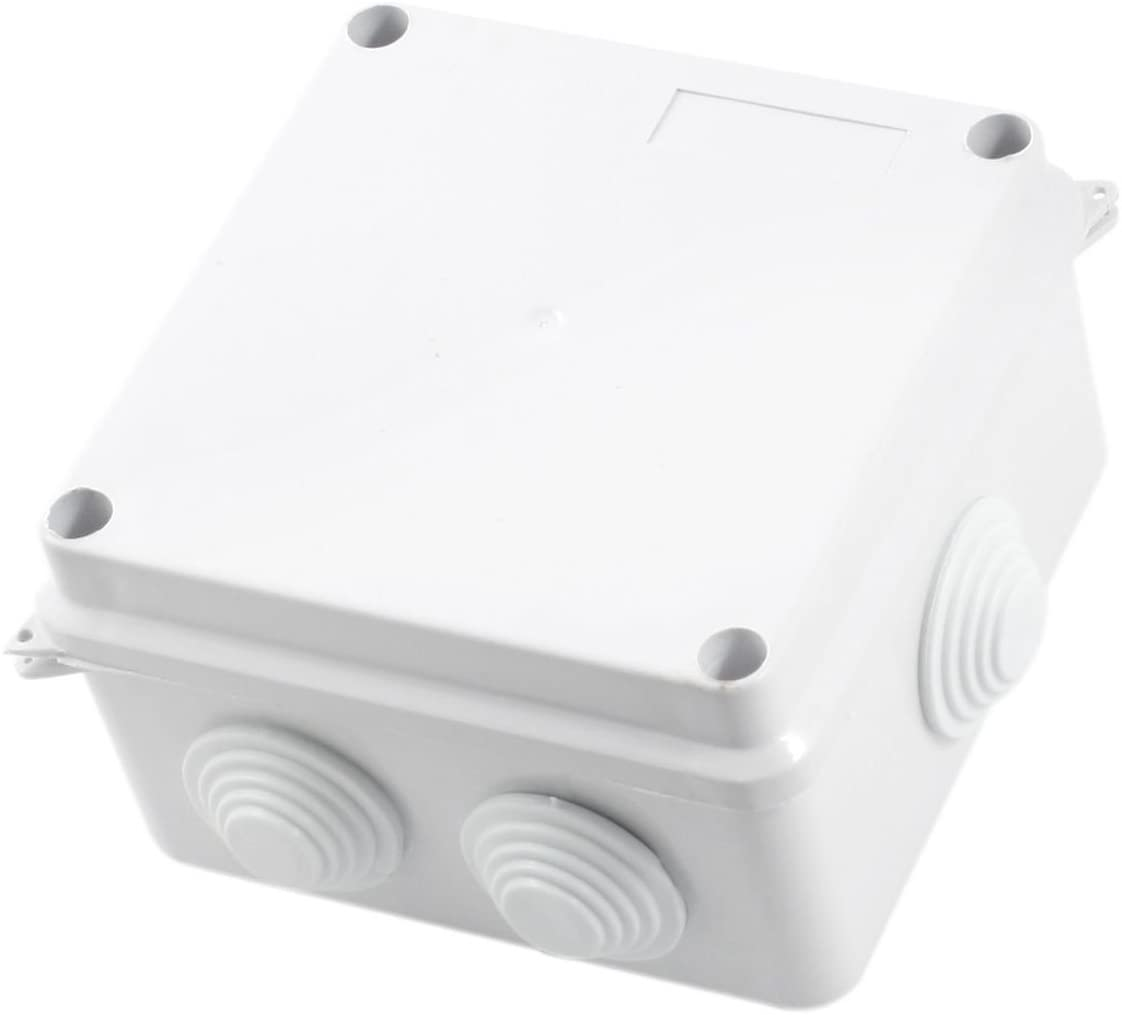 100x100x70mm IP65 Waterproof Enclosure Electrical Junction Box w Holes Project Case Square White ABS