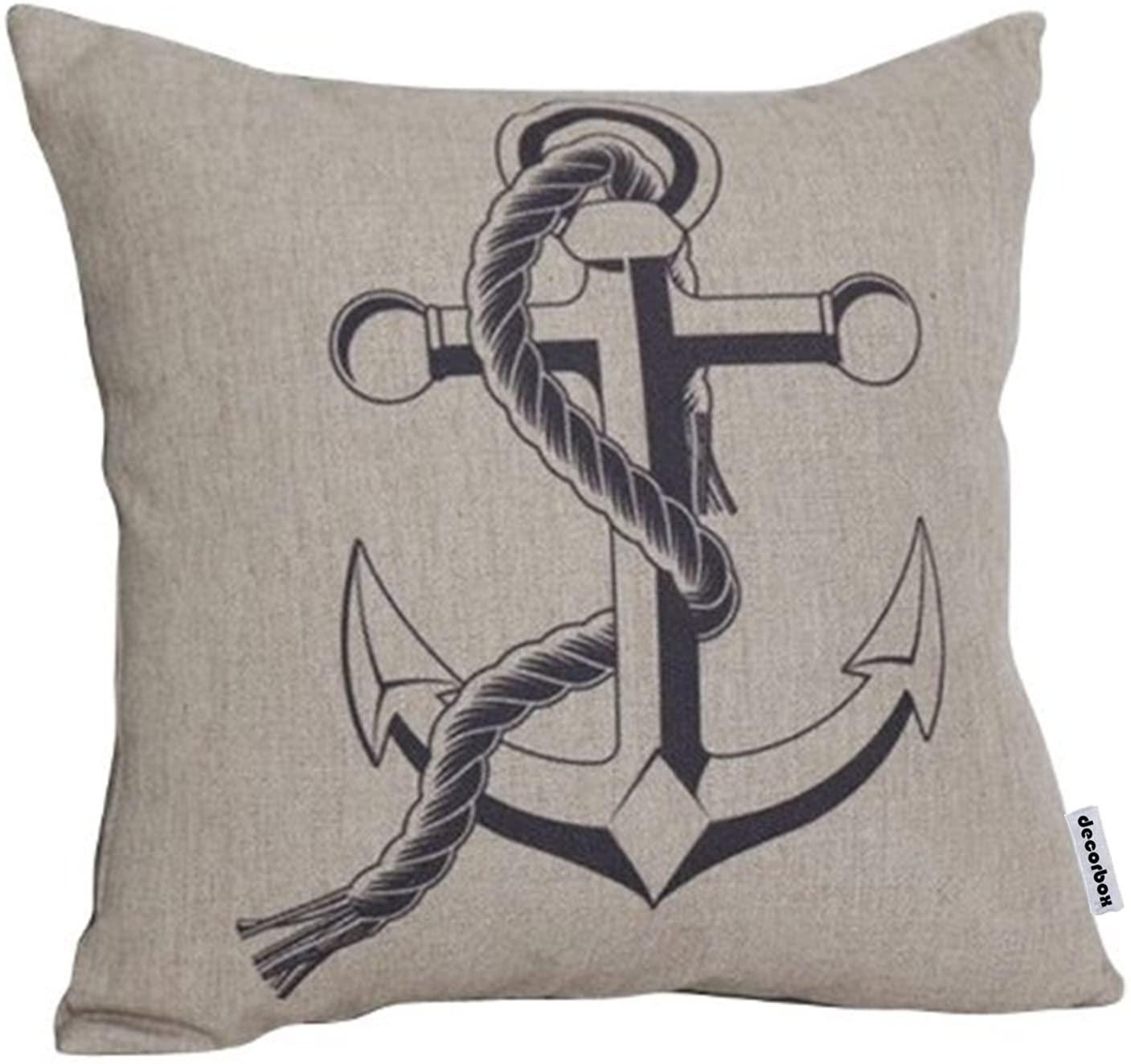 Decorbox Cotton Linen Decorative Throw Pillow Cushion Case Anchor Cushion Cover 18 x 18