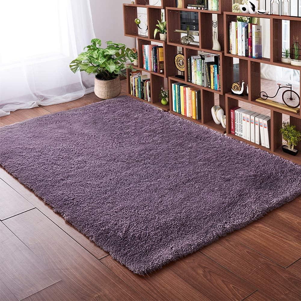 Softlife Fluffy Bedroom Area Rugs 4 x 5.3 Feet Shaggy Nursery Rug for Girls Baby Kids Dorm Room Modern Home Decorative Plush Indoor Floor Carpet, Grey Purple