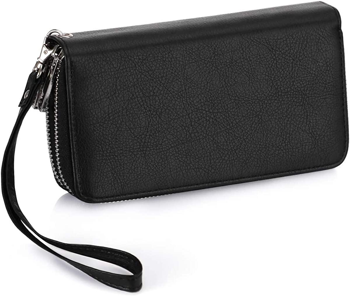 Double Zipper Wristlet Wallet Long Clutch Purse Cellphone Wallet for Women Ladies and Girls