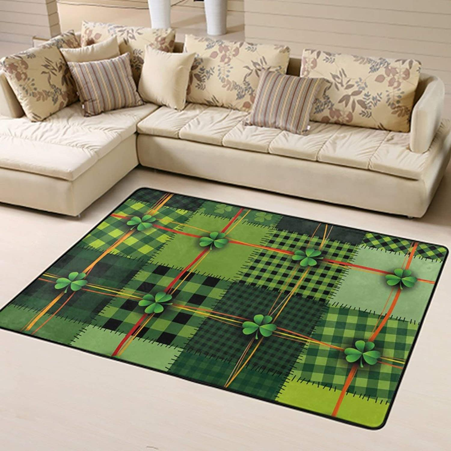 Area Rug Modern Unique Area Carpet Anti Slip Carpets for Bathroom,Office, Dining Room, Indoor Thick Soft Carpets White-Lucky Grass Four Leaf Clover Plaid Pattern gr3 Rug