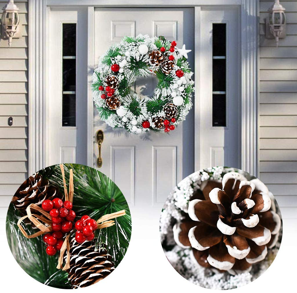 milkcha Christmas Wreath Berry Wreath Handmade Floral Front Door Rustic Wreath Flocked with Mixed Decorations Christmas Decorations (D)