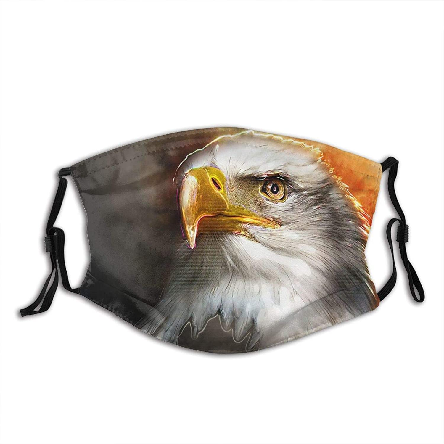 Black And White Eagle Head Face Mask Scarf, Washable Breathable Reusable Bandana Adjustable, For Adult Women & Men Outdoor