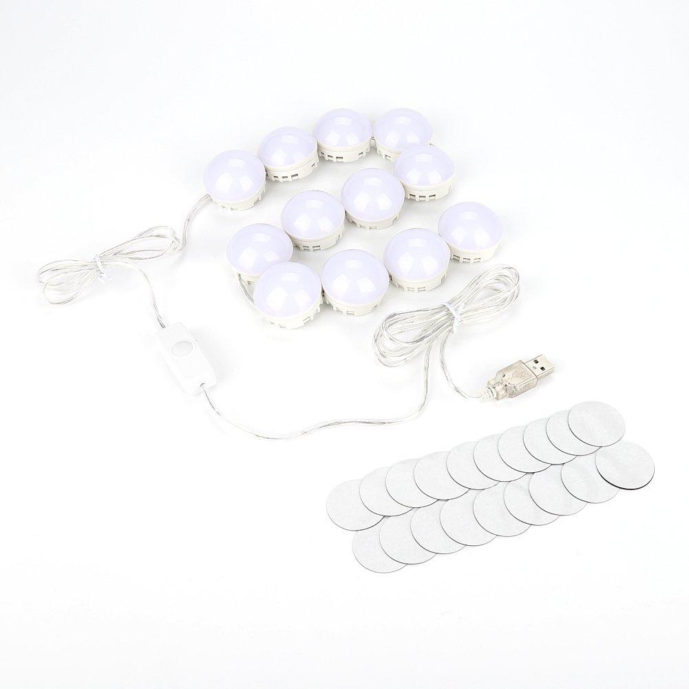 Mirror Lights, Hollywood Style LED Makeup Mirror Lights Vanity Lamp Kit USB Powered Flexible Lighting Fixture for Bathroom, Makeup Dressing Table(12pcs)