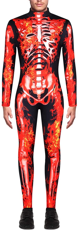 Funcok Men's Skeleton Fire Bone Printed Adult Cosplay Halloween Costume Jumpsuit
