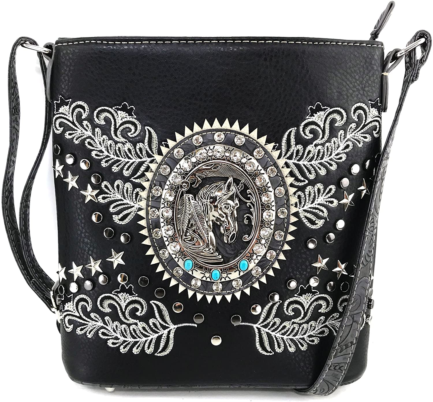 Justin West Horse Bling Rhinestone Floral Embroidery Stud Star Messenger Purse Cross Body Strap