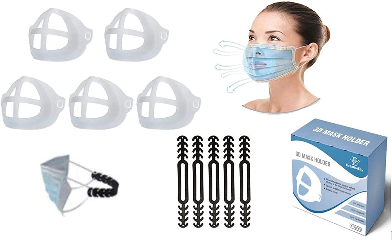BreatheEzy 3D Face Mask Bracket, Face Mask Inner Support Frame, Face Bracket, Comfortable Breathing, Lipstick and Makeup Protector, Bonus 5 Black Mask Extenders Included For Free