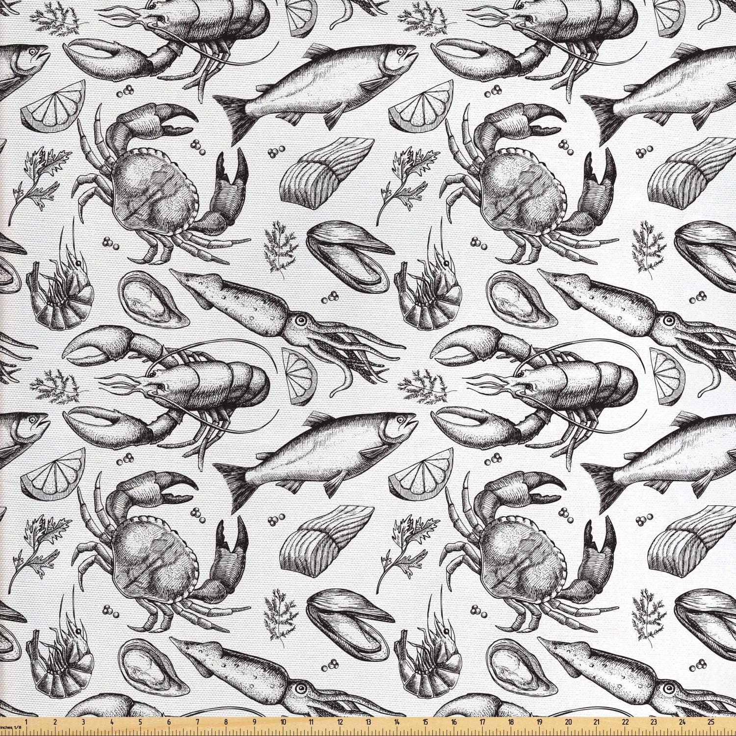 Ambesonne Crabs Fabric by The Yard, Sea Animals a Vintage Illustration of Hand Drawn Seafood Pattern Artwork Print, Decorative Fabric for Upholstery and Home Accents, 1 Yard, White and Black