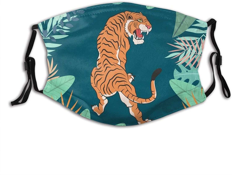 Roaring Tiger Face Mask Scarf, Washable Breathable Reusable Bandana Adjustable, For Women & Men Outdoor