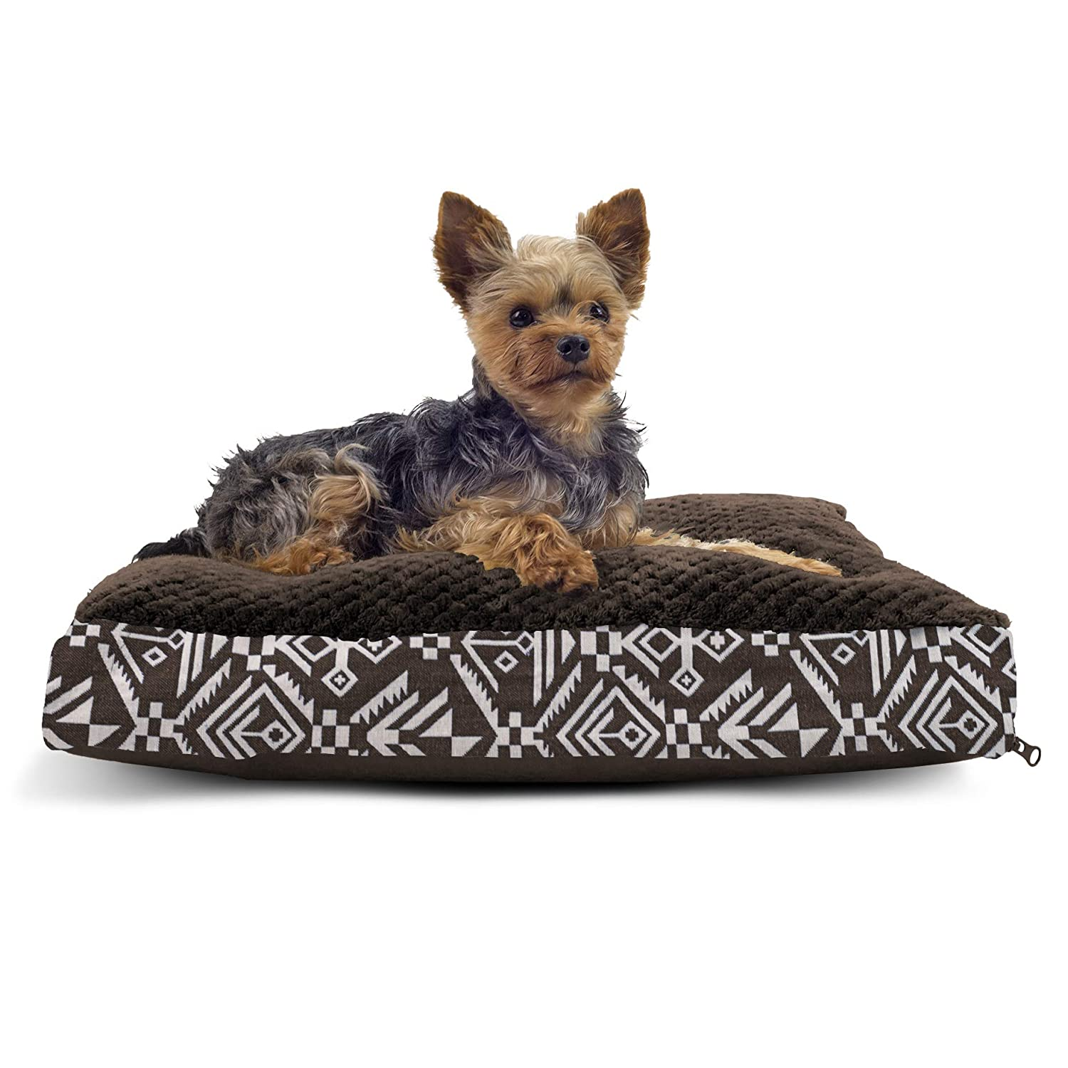 Furhaven Pet Dog Bed - Deluxe Plush Kilim Pillow Cushion Traditional Mattress Pet Bed with Removable Cover for Dogs and Cats, Southwest Espresso, Small