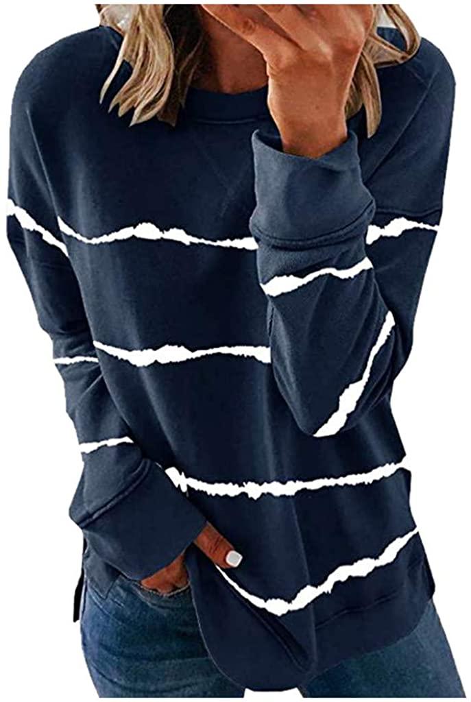 Womens Hoodies Pullover,Women's Casual Color Block Striped Hoodies Tops Long Sleeve Pullover Sweatshirts
