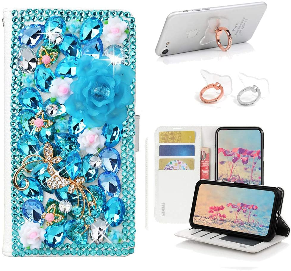 STENES Bling Wallet Case Compatible with Samsung Galaxy J7 (2018) - Stylish - 3D Handmade Dance Butterfly Rose Flowers Leather Cover with Ring Stand Holder [2 Pack] - Light Blue