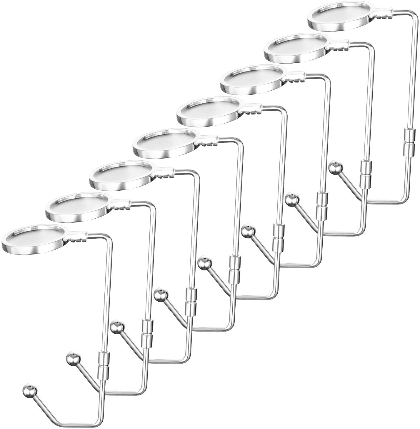 Oyydecor Rotatable Christmas Stocking Holders Mantel Hooks Hanger Christmas Stocking Clips Safety Grip for Christmas Party Decoration (Silver, 8 Pack)