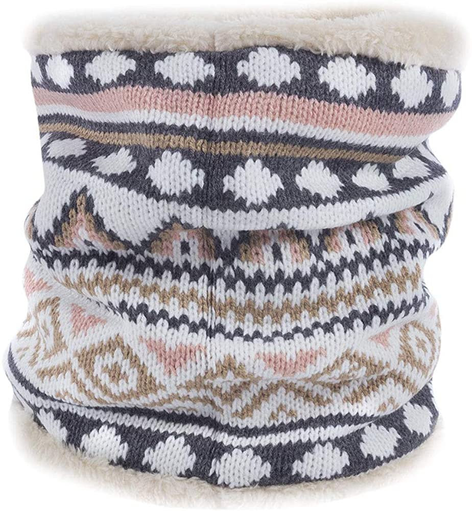 Swyss Women Knitted Winter Double-Layer Soft Fleece Lined Thick Knit Neck Warmer Circle Scarf Windproof