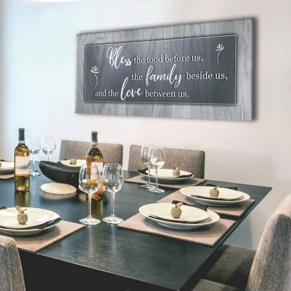 Sense of Art | Bless This Food Quote | Wooden Framed Canvas | Ready to Hang Wall Art for Home Decoration | (Grey, 42x19)…