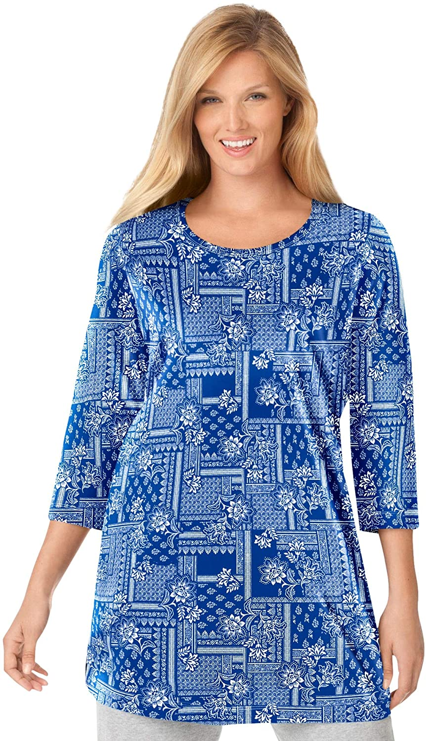 Woman Within Women's Plus Size Perfect Printed Three-Quarter-Sleeve Scoop-Neck Tunic