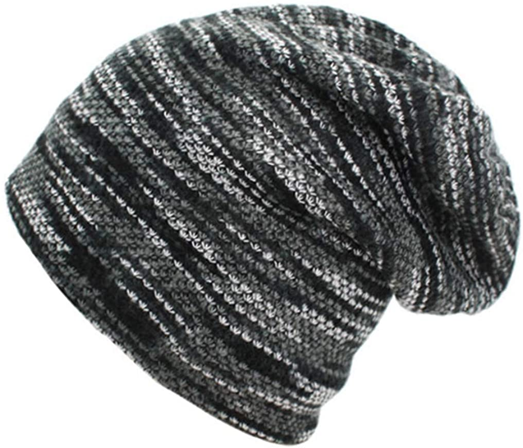 FANGLVE Striped Beanie Bonnet for Women Men Warm Baggy Soft Knitted Hat Thick Skully Cap