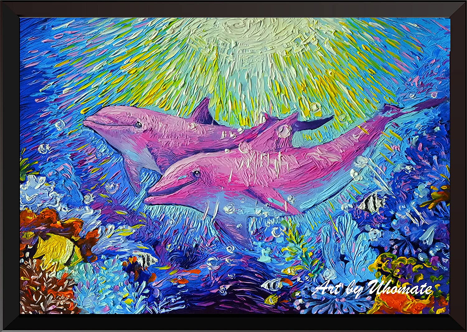 Uhomate Pink Dolphins Sea Animals Wall Decor Vincent Van Gogh Starry Night Posters Home Canvas Wall Art Print Nursery Decor Living Room Wall Decor A100 (8X10)