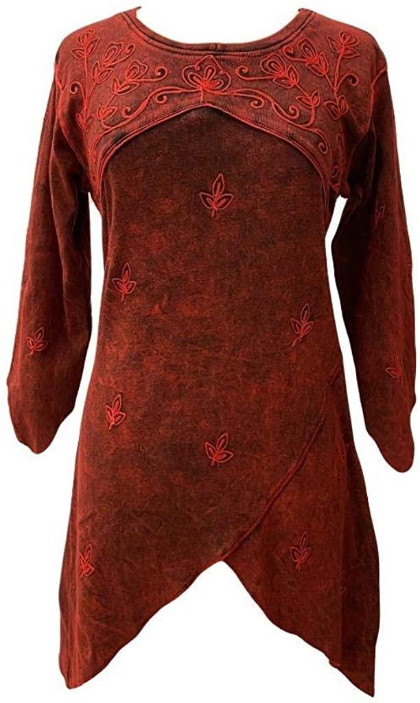 Agan Traders R 303 B Bohemian Rib Knit Cotton Asymmetrical Hem Embroidered 3/4 Sleeve Tunic Blouse