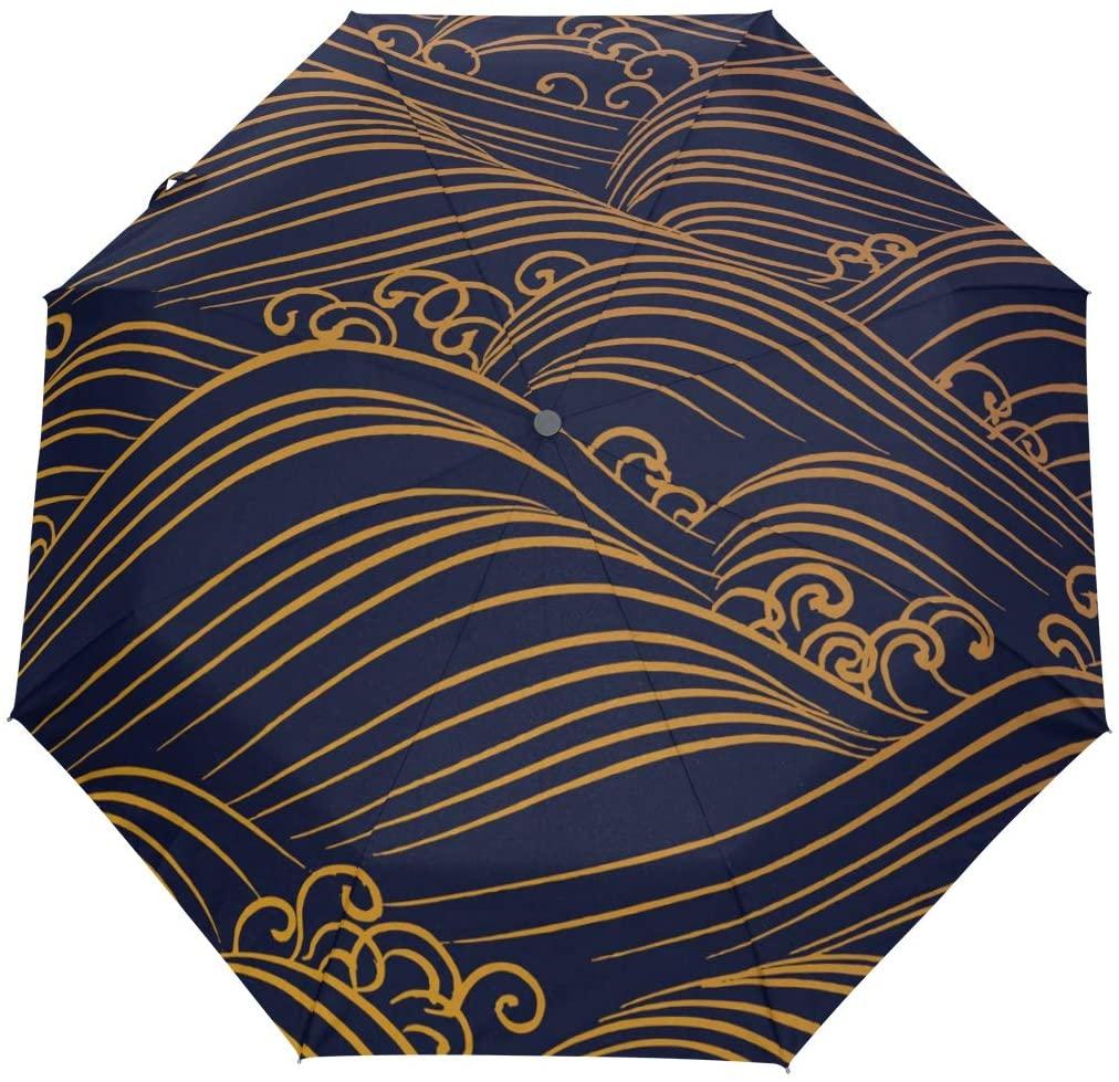 FORMRS Travel Umbrella, Yellow Waves Auto Open Umbrella Compact Folding Sun Rain Protection, Windproof for Kids Women Men