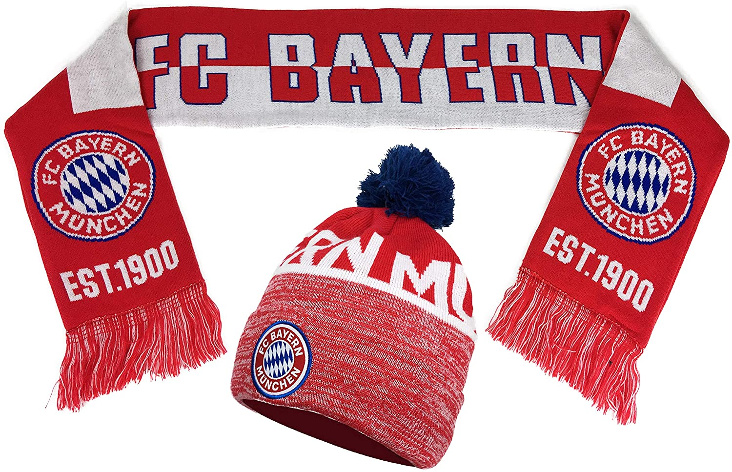 icon Sports Compatible with Official Bayern Munich Scarf and Beanie Gift Set (Red)