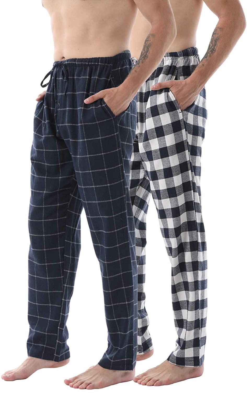 Mens Pajama Pants Flannel Plaid Lounge Pants Sleep Bottoms Cotton Lightweight Pjs with Pockets