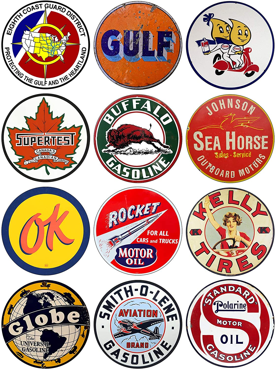 Brotherhood Vintage Gas Sign Reproduction Vintage Metal Signs Round Metal Tin Sign for Garage and Home Décor 12 Piece Assorted Package – Coast Guard 8th District