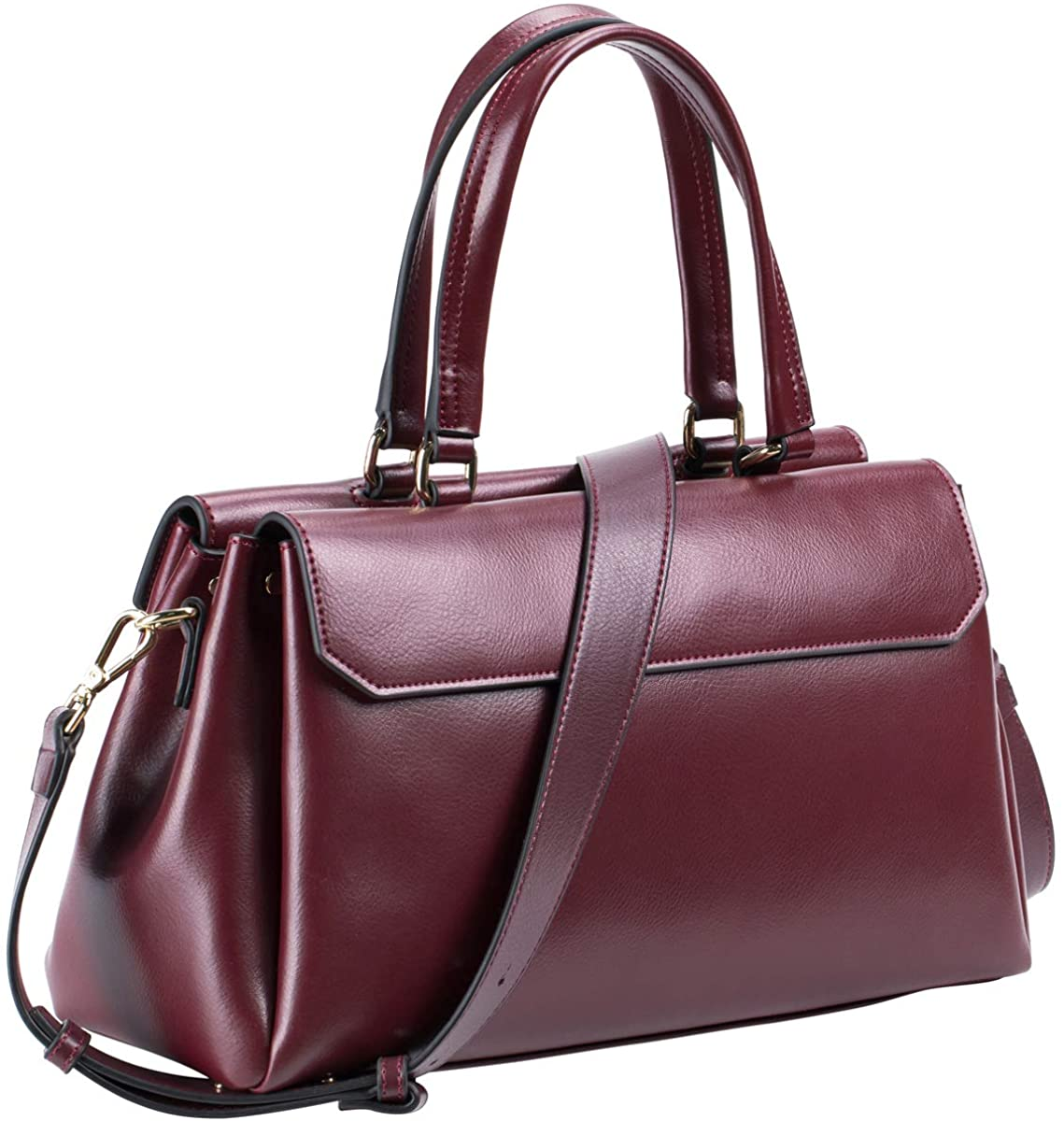 Genuine Leather Handbags for Women Top Handle Satchel Purse Shoulder Bag Vegan Zip Crossbody Bag Red