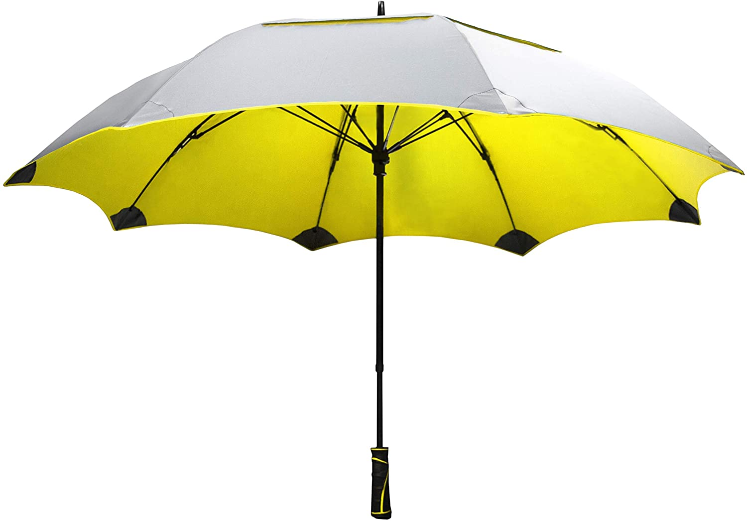 """SunTek Solaire 62"""" Reflective UV Sun Protection Wind & Weather Resistant Vented Double-Canopy Umbrella (Yellow)"""