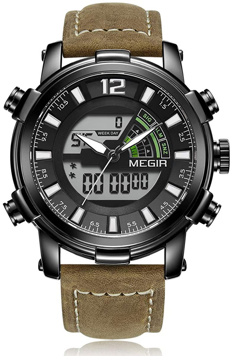 MEGIR Men's Digital Alarm 12/24 Hour Chronograph Outdoor Sports Military Watch with Leather Band