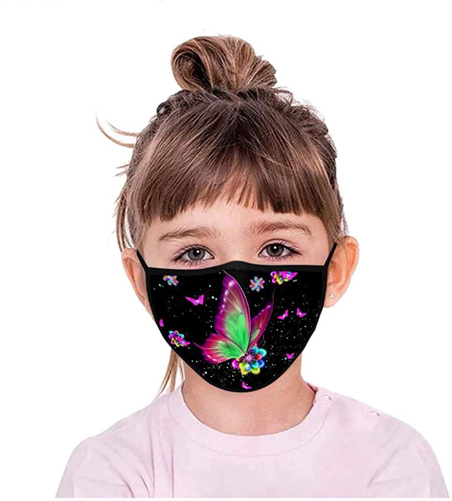 Cute Butterfly Kids Adjustable Reusable Washable Breathable Windproof Face Protective Bandanas Face_Masks Kirbaez