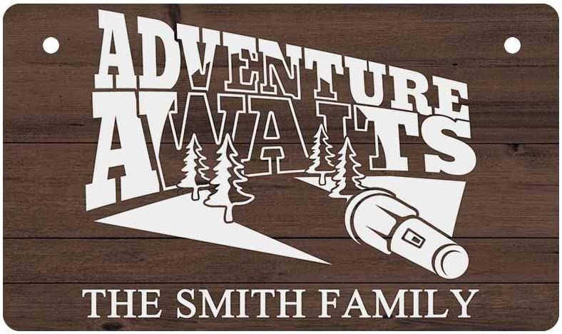 MyPhotoSwimsuits Personalized Name Camper Wood Sign Plaques for RV Door Adventure Awaits Hanging Wall Decor Art Custom Camping Home Decor Gifts 10
