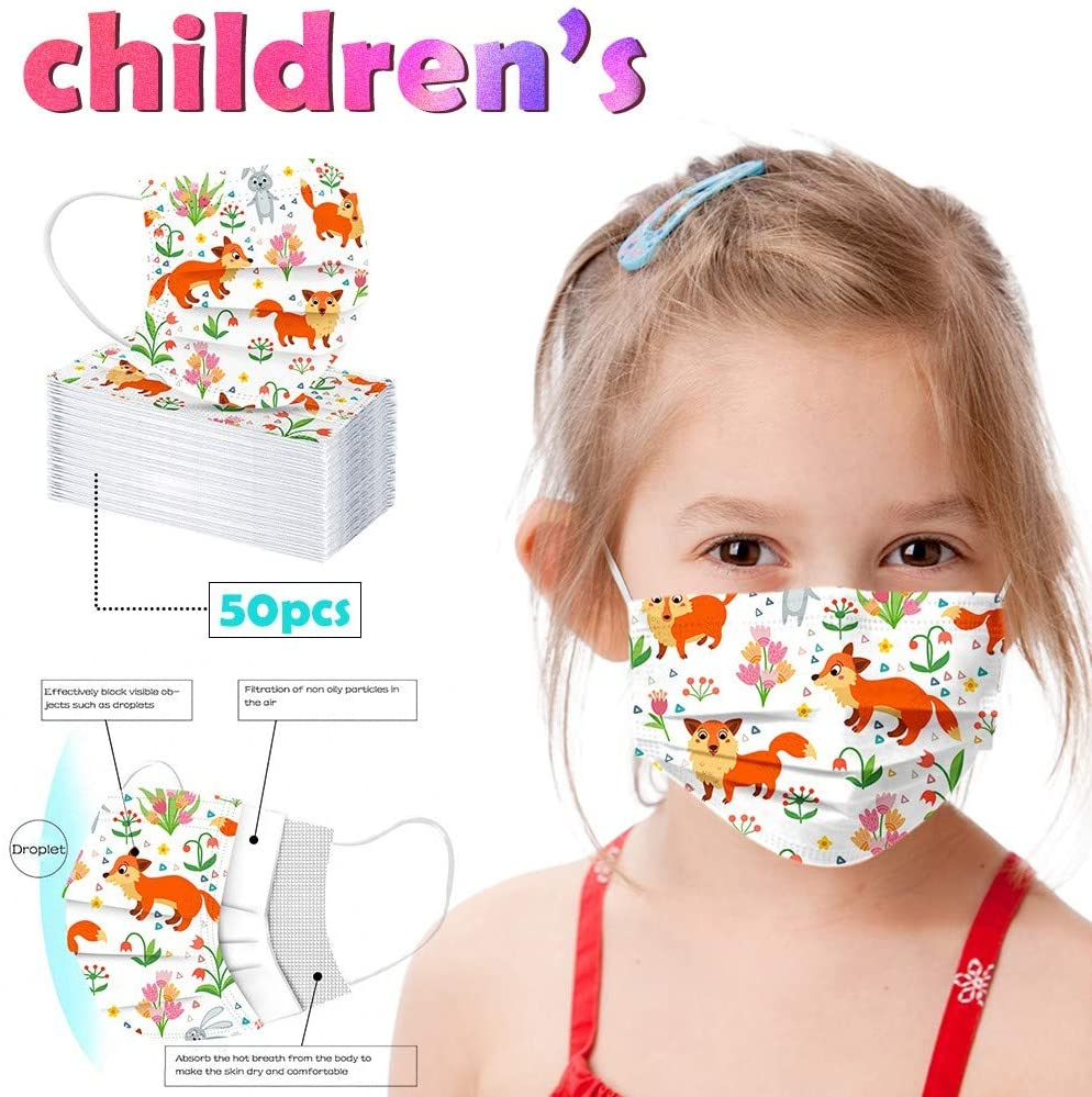 50/100PC Children's Disposable Face Bandanas Three Layer of Fabric Breathable Soft Comfortable Face Coverings for Kids