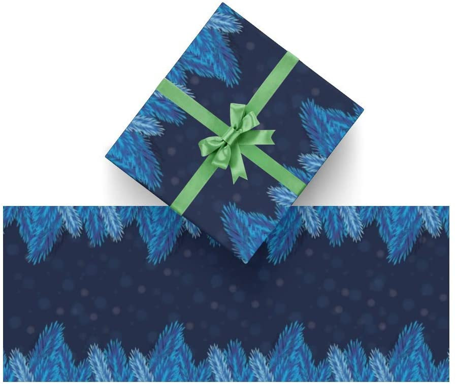 Wrapping Paper Blue Christmas Leaf for Christmas,Birthday,Valentines Day,Bridal or Baby Showers and More- 3Rolls - 58inch x 23inch Per Roll