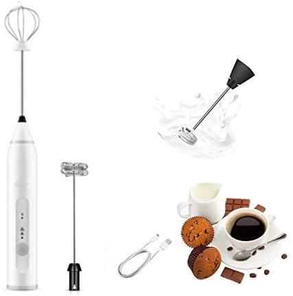 Portable Handheld Milk Frother Foam Maker with 2 Stainless Electric Whisk, 3-Speed Adjustable Mini Drink Mixer for Bulletproof Coffee Latte Cappuccino Hot Chocolate (Kit, White)