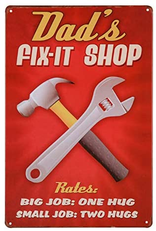 dingleiever-Dad's Fix-It Shop Sign,Funny Dad Repair Shop Metal Tin Sign for Birthday Thanksgiving Gifts for Dad