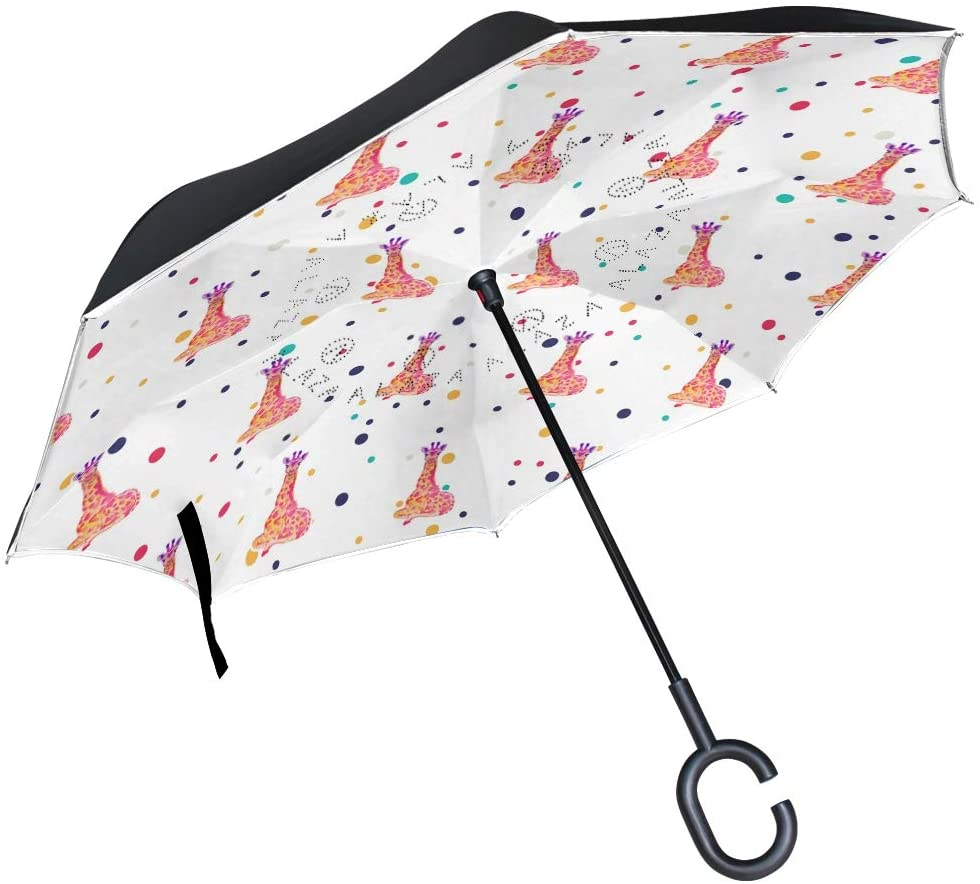 DKRetro Double Layer Wildlife Giraffe Inverted Umbrellas- Reverse Folding Umbrella for Car, C-Shaped Handle Umbrella with Light Reflection Strip