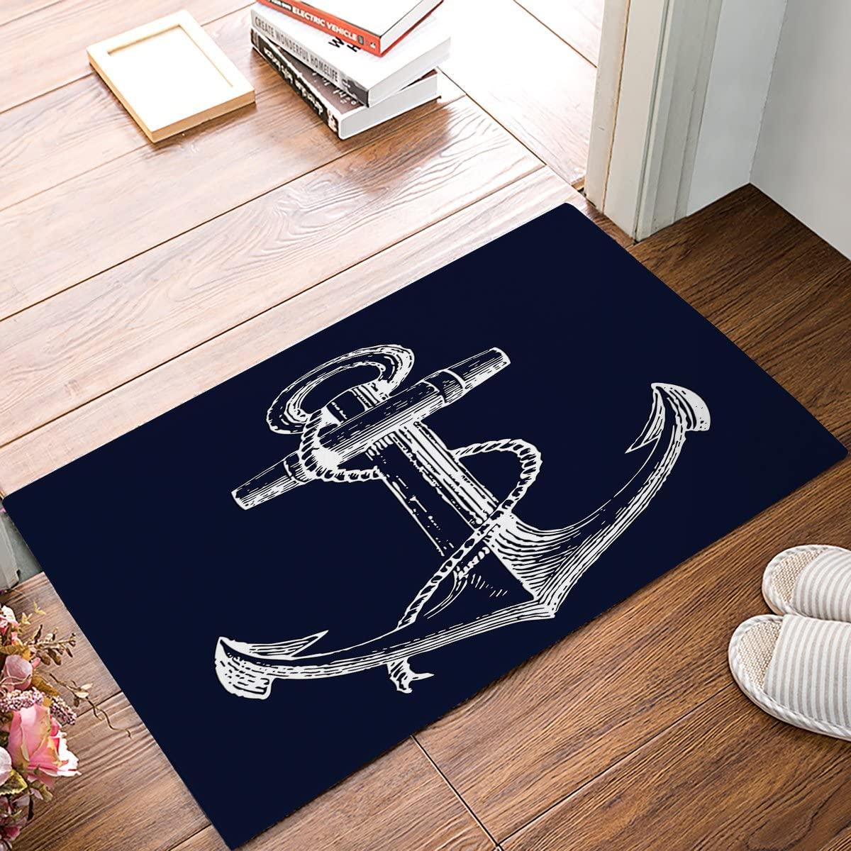 White Nautical Anchor Navy Blue Door Mats Cover Non-Slip Machine Washable Indoor Bathroom Kitchen Decor Rug Mat Welcome Doormat 23.6x15.7inch