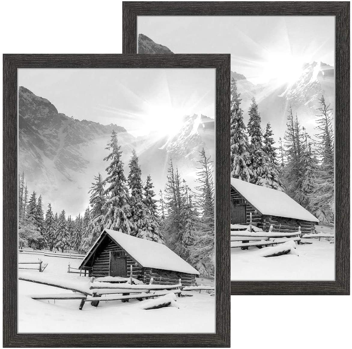 NUOLAN 18x24 Picture Frame Weathered Black Wood Pattern, Wall Hanging Poster Frames with Plexiglass Front, Set of 2 (NL-PF18X24-DG)