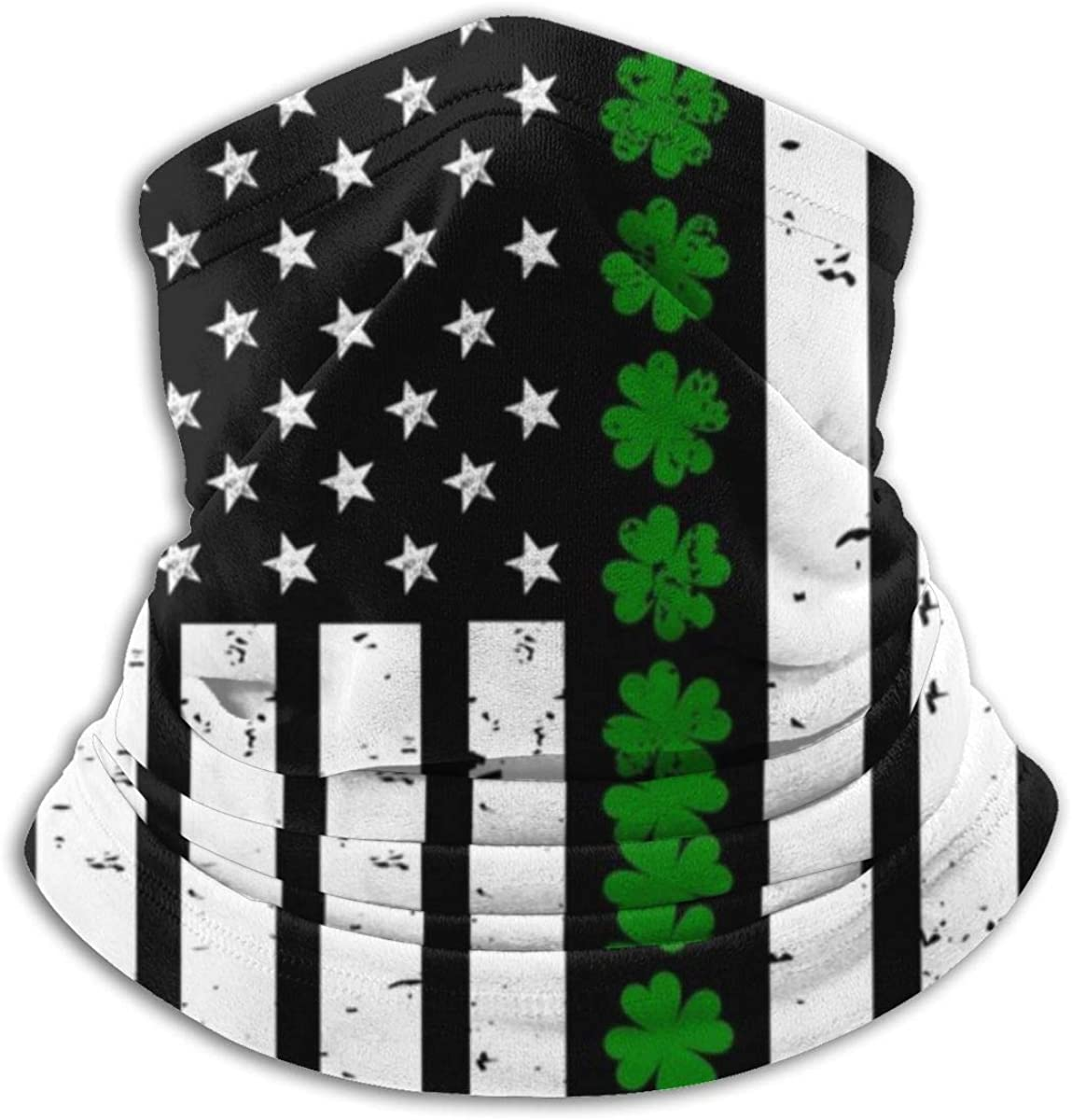 Neck Gaiter Shamrock American Flag Headwear Magic Scarf Face Sun Mask for Outdoor Sports Black