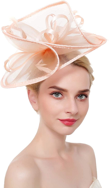 ORIDOOR Fascinators Hat for Women Derby Church Cocktail Tea Party Fascinator Flower Feathers Bridal Headband Clips Headpiece